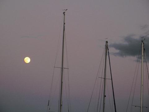 ヨットハーバーから昇る満月