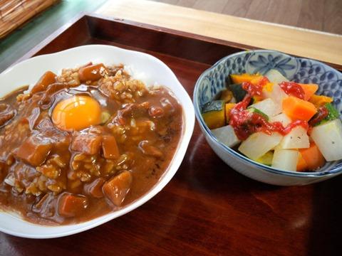インスタントカレー生玉子のせと蒸し野菜